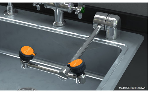 A photograph of a Guardian G1849LH-L eyewash mounted on the counter behind a sink (sink not included).