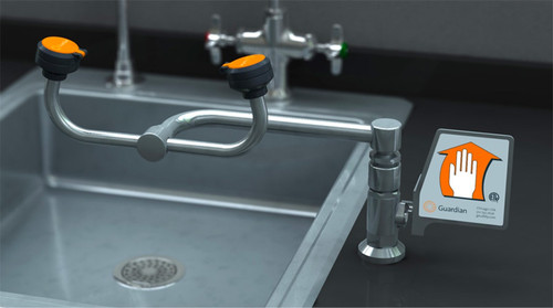 A photograph of a Guardian G1893 Eyewash, Deck Mounted, 90º Swivel mounted to the right of a sink (sink is not included).