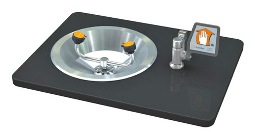 A photograph of a Guardian G1808 Eyewash, Recess Deck Mounted, Ball Valve with Flag Handle mounted in a countertop (countertop not included).