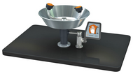 A photograph of a Guardian G1822 Eyewash, Deck Mounted, Stainless Steel Bowl mounted on a countertop (countertop not included).