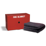 A photograph of a red 09066 drop-down fire blanket cabinet with included blanket.