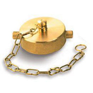 """A photograph of a 09200 1.5"""" brass cap with chain and pin lug design."""