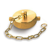 """A photograph of a 09201 2.5"""" brass cap with chain and pin lug design."""
