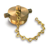 """A photograph of a 09202 2.5"""" brass plug with chain and pin lug design."""