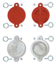 """A photograph of front and back of red and silver 09204 2.5"""" aluminum FDC and hydrant break caps."""