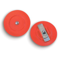 A photograph of a red 09205 adjust-a-plug plastic break cap for FDC and hydrant connections.