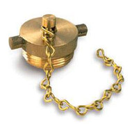 """A photograph of a 09206 1.5"""" brass plug and chain for FDC, hydrant, and valve connections."""