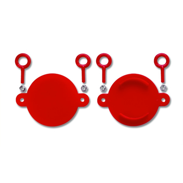 FDC Red Fire Department Connection Breakable Caps Set of 2 2 1//2 Aluminum
