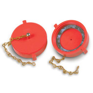 """A photograph of a red 09208 2.5"""" red plastic threaded cap and chain for hydrant threads."""