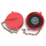 """A photograph of a red 09209 universal 2.5"""" red plastic cap and chain for hydrant threads."""