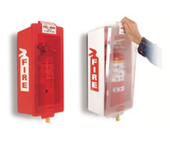 A photograph of a red and a white 09300 mark i jr. fire extinguisher cabinets with fire extinguishers installed.