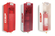 A photograph of a red and two white 09308 mark ii fire extinguisher cabinets, with fire extinguishers installed.