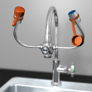 A photograph of an Guardian G1101 EyeSafe-X Faucet-Mounted Eyewash installed on a gooseneck faucet.