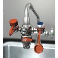 A photograph of a Guardian G1200 EyeSafe™ Faucet-Mounted Eyewash mounted on a faucet.