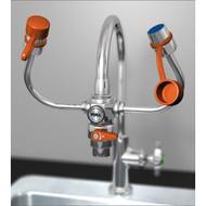 A photograph of a Guardian G1201 EyeSafe™ Faucet-Mounted Eyewash mounted on a gooseneck faucet.