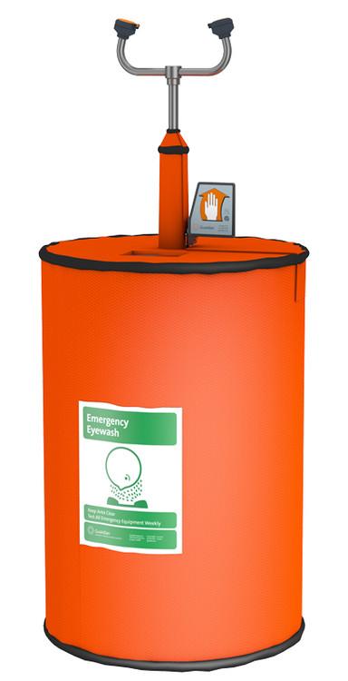 A photograph of a complete Guardian G1562HTR 15 Gallon Portable Eyewash/Drench Hose Unit w/ Heated Orange Insulation Jacket.