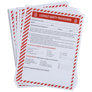 A photograph of several 07072 lockout procedure refill forms, with 25 per package.
