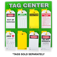 A photograph of a 07075 zing eco 8-hook safety tag center with safety tags installed.