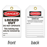 A photograph of a 07078 tag, reading danger locked out do not operate on front, and this energy source has been locked out on back, with 25 per package.