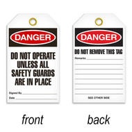 Tags, DANGER, Do Not Operate Unless All Safety Guards Are In Place, 25/pkg