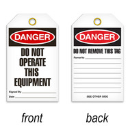 A photograph of a 07080 tag, reading danger do not operate this equipment on front, and do not remove this tag on back, with 25 per package.
