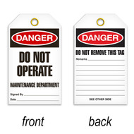 A photograph of a 07081 tag, reading danger do not operate maintenance department on front, and do not remove this tag on back, with 25 per package.