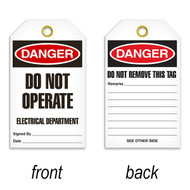 A photograph of a 07082 tag, reading danger do not operate electrical department on front, and do not remove this tag on back, with 25 per package.