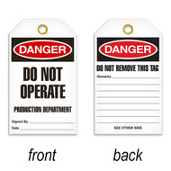 A photograph of a 07083 tag, reading danger do not operate production department on front, and do not remove this tag on back, with 25 per package.