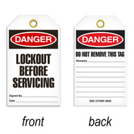 A photograph of a 07084 tag, reading danger lockout before servicing on front, and do not remove this tag on back, with 25 per package.