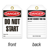 Tags, DANGER, Do Not Start, 25/pkg
