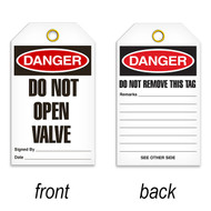 Tags, DANGER, Do Not Open Valve, 25/pkg