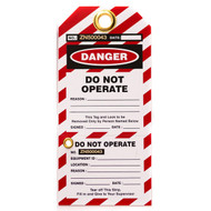 Do Not Operate Lockout Tag w/ Perforated Stub, 10/pkg