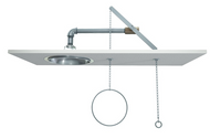 A photograph of a Guardian G1627 Emergency Shower, Recess Mounted, Stainless Steel Shower Head installed in a ceiling panel (panel not included).