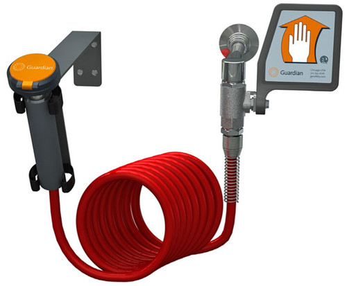 A photograph of a Guardian G5018 Drench Hose Unit, Wall Mounted w/ Flag Activation Handle.