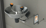 A photograph of a Guardian GFR1814 Freeze-Resistant Eyewash, Wall Mounted, Stainless Steel Bowl.