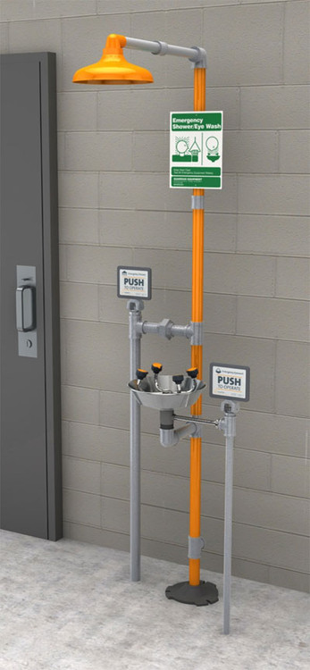 A photograph of a Guardian GFR1909SSH Freeze-Resistant Safety Station with stainless steel bowl mounted next to a cinderblock wall.