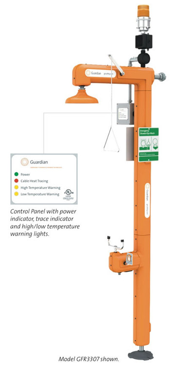 """A photograph of a Guardian GFR3300 Heated Safety Station with an inset showing the control panel and caption that reads """"Control Panel with power indicator, trace indicator, and high/low temperature warning lights."""""""