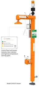 """A photograph of a Guardian GFR3310 Heated Safety Station with an inset showing the control panel and caption that reads """"Control Panel with power indicator, trace indicator, and high/low temperature warning lights."""""""