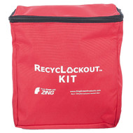 A photograph of a red 07111 zing recylockout™ lockout pouch.