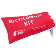 A photograph of a red 07112 zing recylockout™ lockable lockout bag.