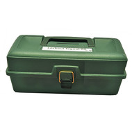 A photograph of a green 07115 zing empty lockout toolbox.