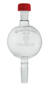 A photograph of a CG-1194-03 chromatography reservoir with 500 mL capacity and 24/40 Rodavis® joints.
