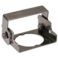 A photograph of a black 07150 emergency stop safety cover lockout device in closed position.