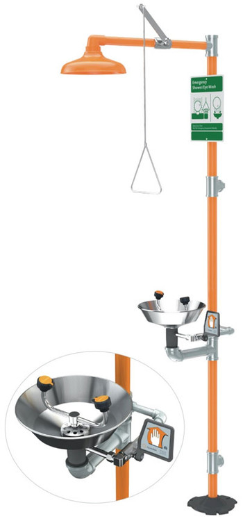 A photograph of an orange G1902 safety station w/ eyewash and stainless steel bowl.