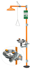 A photograph of an orange G1950 safety station with an inset picture showing the eye/face wash and stainless steel bowl.