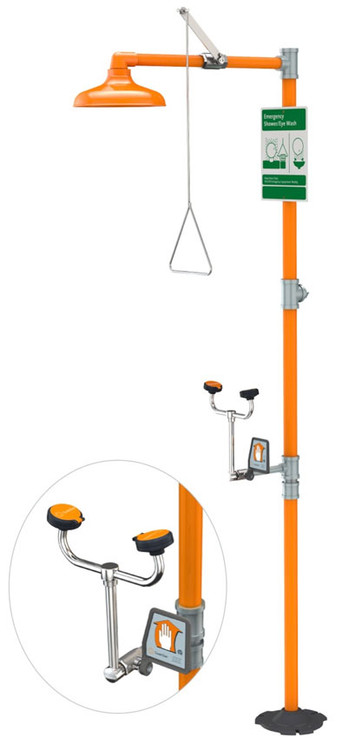 A photograph of an orange Guardian G1931 safety station.