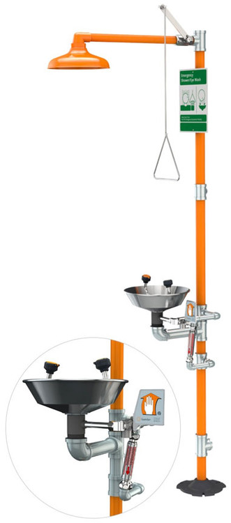 A picture of an orange G1943 safety station with an inset of the anti-scald protection valve.