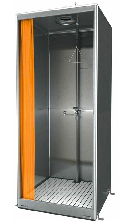 A photograph of a Guardian G2010 Front Entry Enclosure, All-Stainless Steel Eyewash and Shower Safety Stations w/ Bottom Drain.