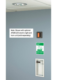 A photograph of a Guardian GBF1671 Recessed Emergency Shower installed on a wall and ceiling, along with an AP280-235 electric light and horn unit (sold separately).