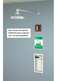 A photograph of a Guardian GBF1672 Recessed Emergency Shower installed on a wall along with an AP280-235 electric light and horn unit (sold separately).